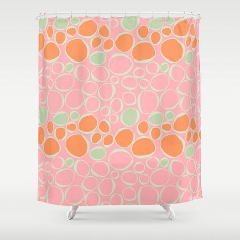 Fiona pink orange shower curtain contemporary shower curtains