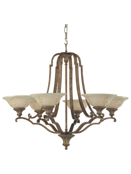 Royce Lighting - Royce Lighting 6-Light Chandelier with Cream Sandblasted Glass in Silver Finish - Capturing the allure of old world elegance, these fixtures glisten in gilded imperial silver. The shades in cream sandblasted glass delicately adorn each piece. Designed by Pasquale Miranda, The Belcarlo collection six-Light chandelier is a beautifully designed fixture that adds a classic touch to your home. Includes 6-candelabra base (G) bulbs, 60-Watt maximum.