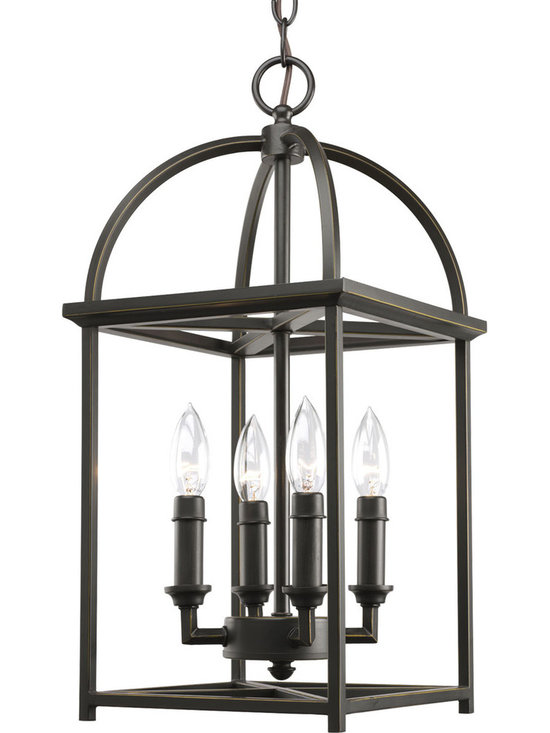 Progress Lighting Piedmont Four-Light Hall & Foyer - Four-light foyer lantern with soaring arches and candle chaser accents. Simple vertical structure with open arching roof and center inspired by classic shaker design.