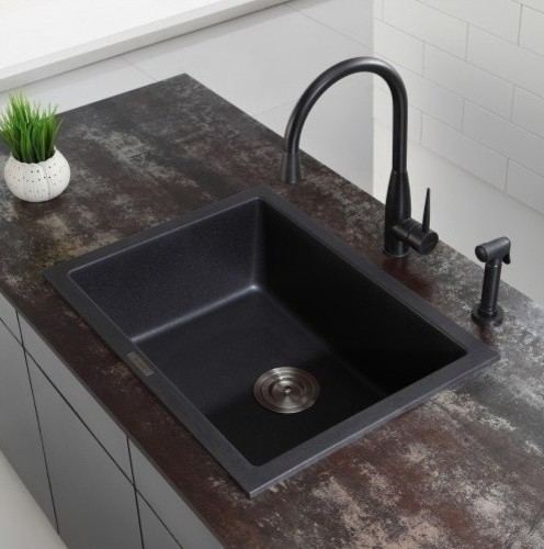 ... Mount Single Bowl Black Onyx Granite Kitchen Sink modern-kitchen-sinks