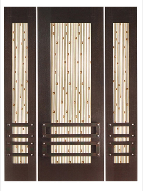 """Contemporary Entry Door Model NW-1623 - Model NW-1623 from our New World Collection. Door is solid Mahogany, 2-1/4"""" thick with decorative glass and iron work on the outside."""