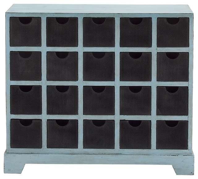 Blue Polished Metal Wood Chest Drawer - Traditional - Accent Chests And Cabinets - by Wildorchid