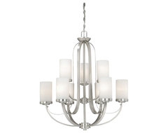 Oxford Brushed Nickel 9 Light Chandelier traditional-chandeliers