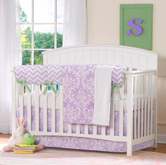 Lavender baby girl nursery modern baby bedding louisville by liz and roo fine baby bedding - Modern baby girl crib bedding ...