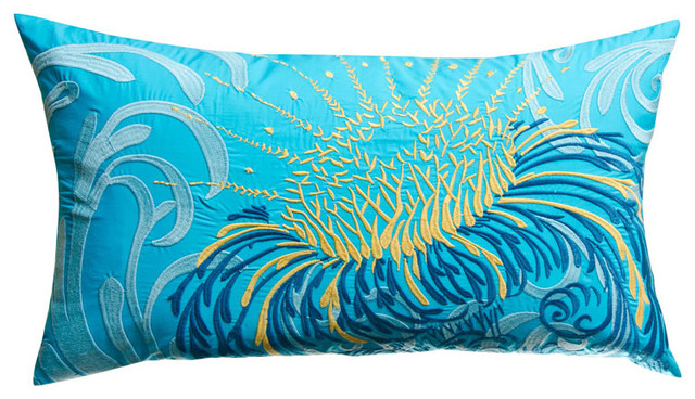 Koko water rectangular blue and gold flower throw pillow for Blue and gold pillows
