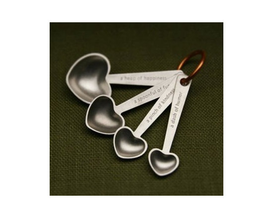 Beehive Quotes Measuring Spoons - Made with love by Beehive the four standard Measuring Spoons come on an anodized aluminum ring. Increments are engraved on the back of spoon handles.