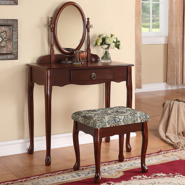 Bobkona Vanity Set With Stool In Cherry Contemporary Bathroom Vanities And Sink Consoles