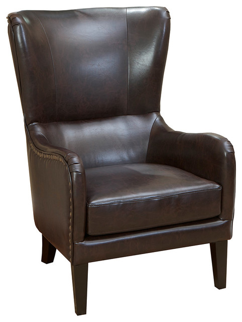 Clarkson Brown Leather Wingback Club Chair Transitional