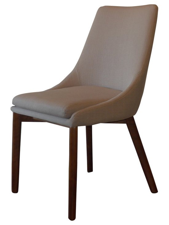 Gingko - Pascal Dining Chair, Beige - Extremely comfortable dining chair upholstered in easy to clean fabric. Exposed Walnut Base, adds a rich quality to this simple, elegant design.  Great in a contemporary, mid-century, or transitional design setting.