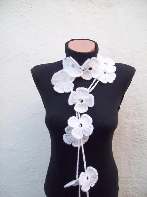 Hand-Crochet Lariat Scarf, White Flower by Nurlu Crochet contemporary-home-decor