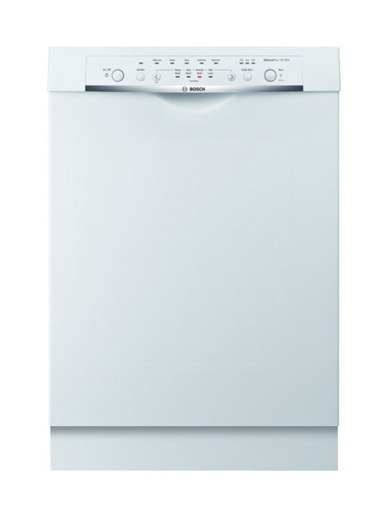 """Bosch Ascenta Series 24"""" Recessed Handle Dishwasher, White 