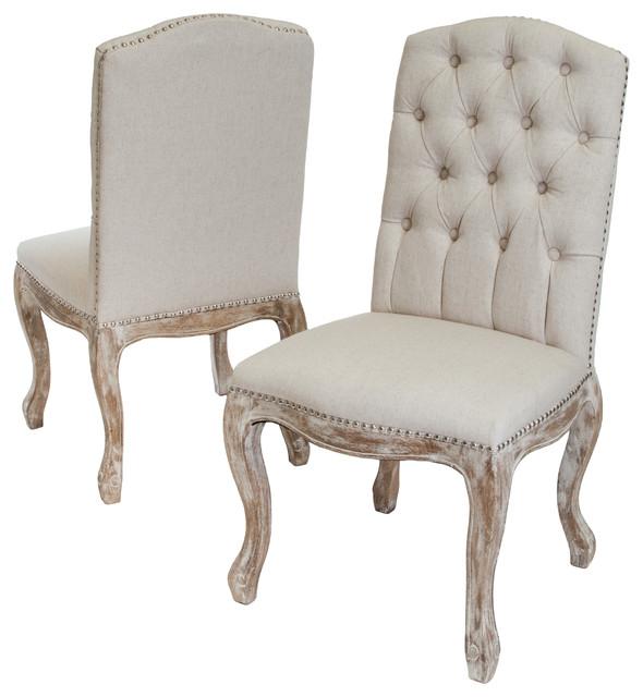 Jolie Beige Linen Dining Chairs Set of 2 Craftsman