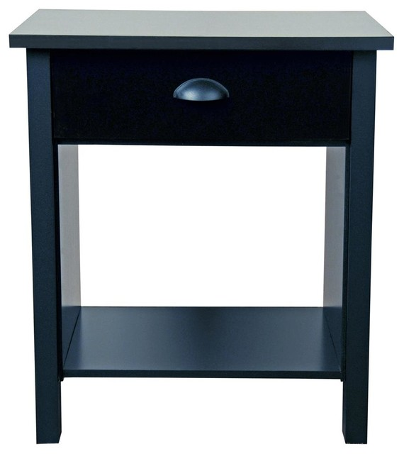 Nouvelle Contemporary Black Nightstand W Draw