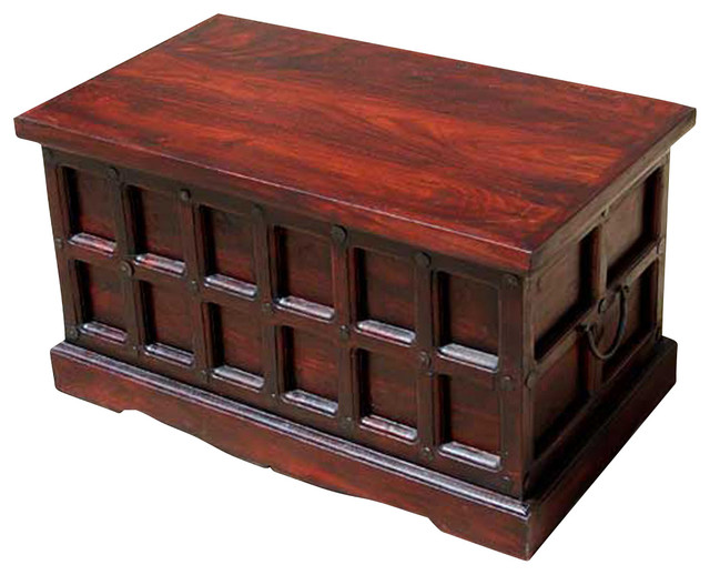 Cherry Wood Storage Chest Trunk Toy Box Coffee Table Traditional Coffee Tables