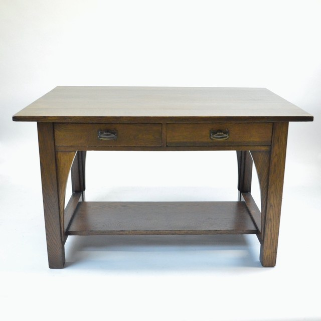 American Art & Crafts Oak Desk in The Manner of L&JG Sticklet, Early 20th C. traditional-desks-and-hutches