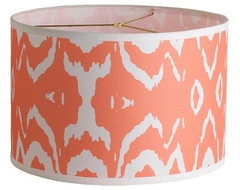 Young House Love Two-Tone Ikat Drum Shade, Coral Pink contemporary lamp shades