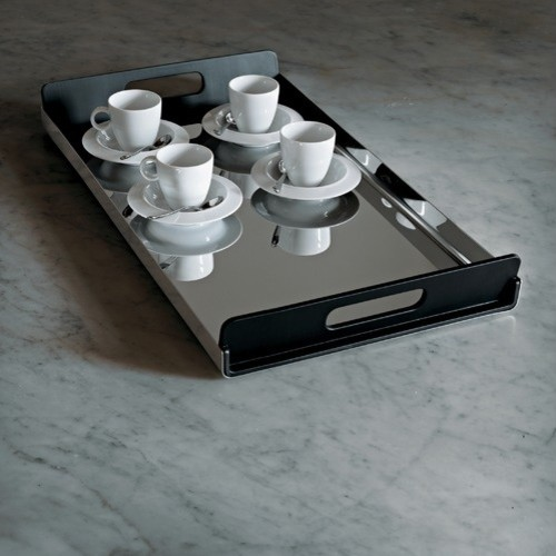 Vassily Rectangular Tray in Mirror Polished with Black Handles by Giulio Lachett modern-serving-dishes-and-platters