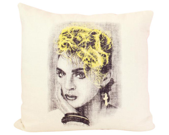 reStyled by Valerie - Madonna Decorative Throw Pillow, Throw Pillow Cover - Let the Material Girl bring a pop of color and fun to your decor with this decorative throw pillow. Illustrated by Nick Williams, this fabulous image of circa-1980s Madonna is individually screen printed onto each natural beige linen blend fabric pillow. Go ahead, express yourself!
