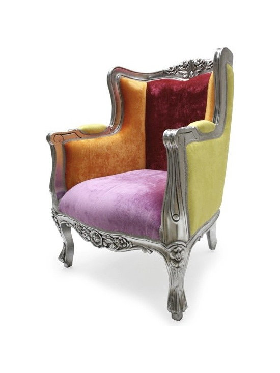 Chichi Furniture Exclusives. - Bring a 'WOW' factor to your room with this funky upholstered chair. A classic French style wing chair finished in opulent silver leaf with hand applied antique glaze. Upholstered in the most amazing vivid funky colours you can imagine and will brighten up any room with its funky colourful style.