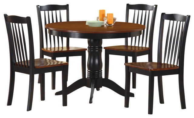 Homelegance andover 5 piece round dining room set in oak for Traditional round dining room sets