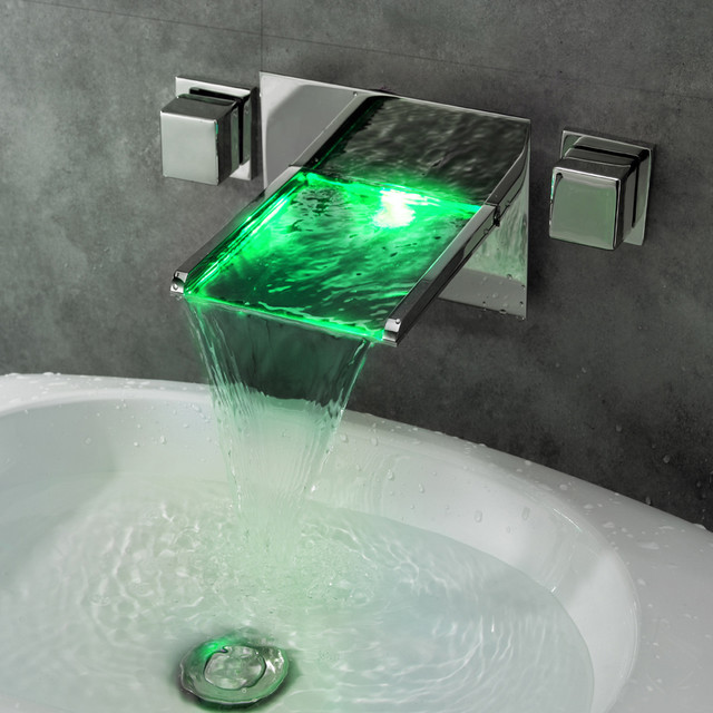 Koko Led Lighted Waterfall Wall Mount Sink Faucet Modern