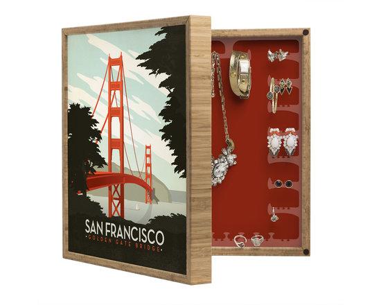 DENY Designs - Anderson Design Group San Francisco BlingBox - Handcrafted from 100% sustainable, eco-friendly flat grain Amber Bamboo, DENY Designs' BlingBox Petite measures approximately 15 x 15 x 3 and has an exterior matte cover showcasing the artwork of your choice, with a coordinating matte color on the interior. Additionally, the BlingBox Petite includes interior built-in clear, acrylic hooks that hold over 120 pieces of jewelry! Doubling as both art and an organized hanging jewelry box, It's bound to be the most functional (and most talked about) piece of wall art in your home! Custom made in the USA for every order.