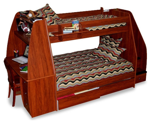 Enterprise twin over full bunk bed with desk and storage for Modern bunk bed with desk