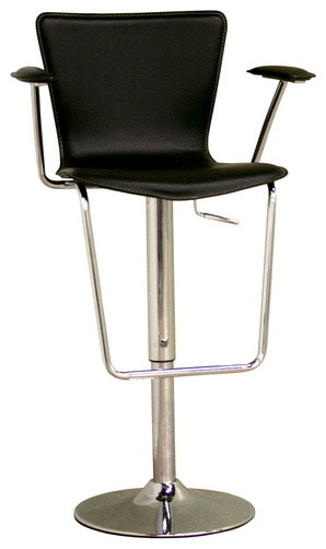 Baxton Studio Black Bonded Leather Adjustable Bar Stool transitional-bar-stools-and-counter-stools
