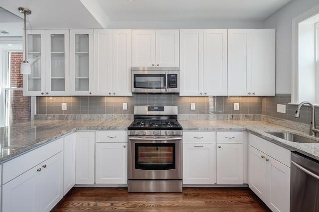 White Cabinets Grey Backsplash Kitchen - Tile - by Subway Tile Outlet