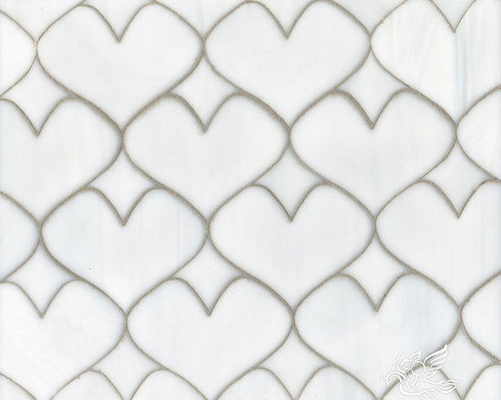 Erin Adams - Hearts - Hearts, a glass waterjet mosaic shown in Moonstone, is part of the Erin Adams Collection for New Ravenna Mosaics.