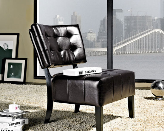 Abbyson Living - Livingston Dark Brown Bonded Leather Armless Chair -