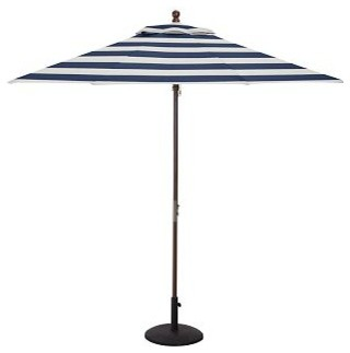 round market umbrella canopy replacement 9 39 sunbrella r awning stripe navy w traditional. Black Bedroom Furniture Sets. Home Design Ideas