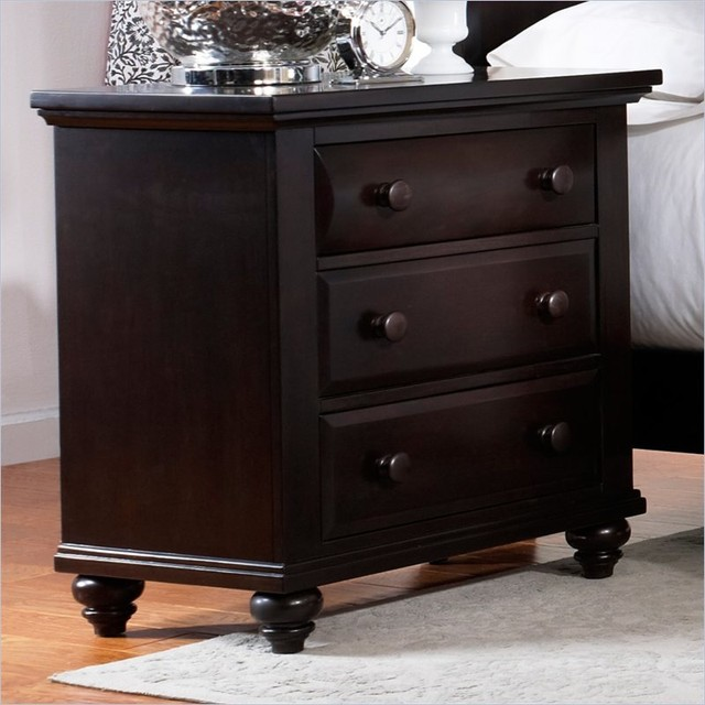 Broyhill Farnsworth 3 Drawer Night Stand In Inky Black