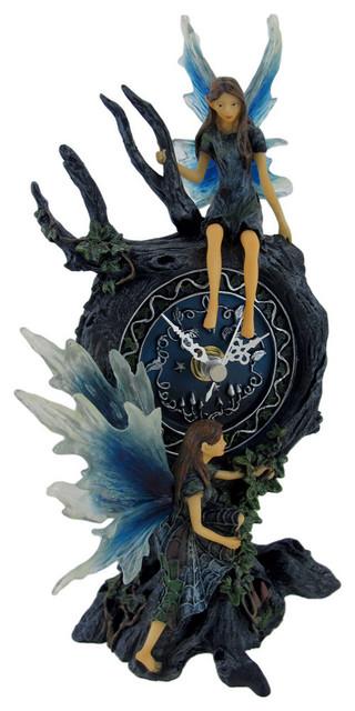 Enchanting Tree Fairy Table Clock contemporary-desk-and-mantel-clocks