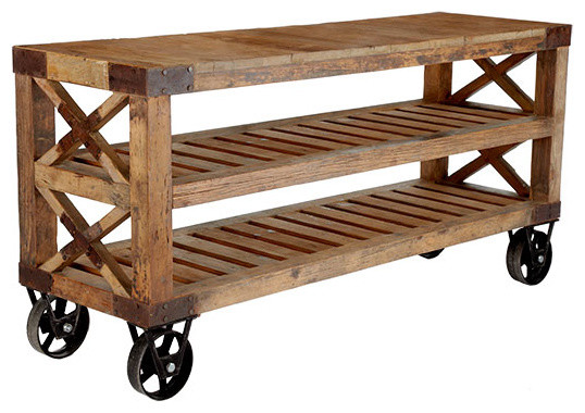 Recycled Pine Wood Console | Wisteria rustic-kitchen-islands-and-kitchen-carts