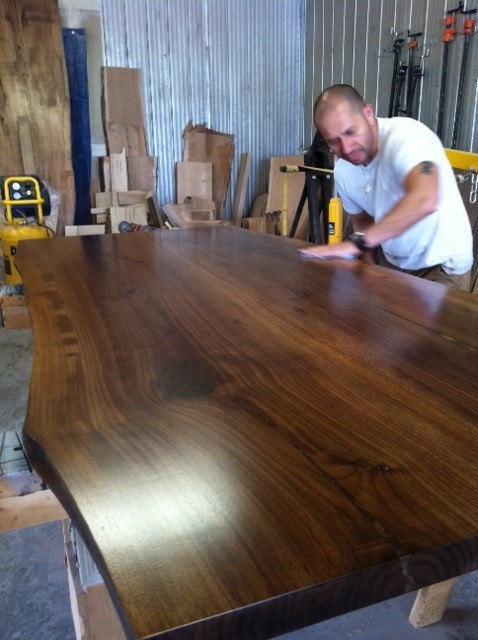 Live Edge Wood Slab Table Contemporary Dining Tables