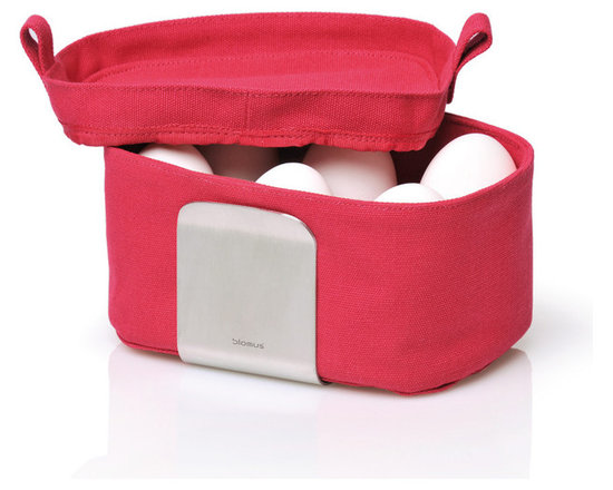 Blomus - Desa Egg Basket Organizer - Red - The Desa Egg Basket available in multiple colors. Keeps up to 6 boiled eggs warm for up to 45 minutes. Fabric machine wash safe (40 - 100 degrees F).