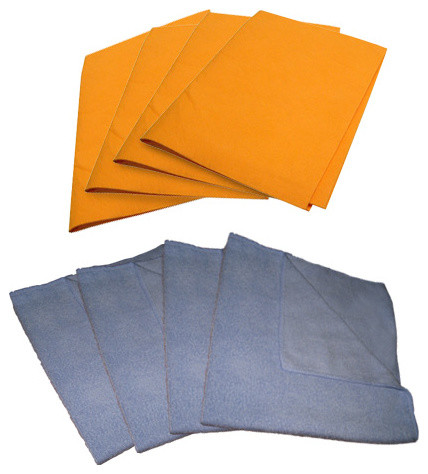 4 Micro Fiber Cloth 16 x 16 Inch Light Blue and 4 Orange Chamois 19 x 27 Inch traditional-cleaning-cloths