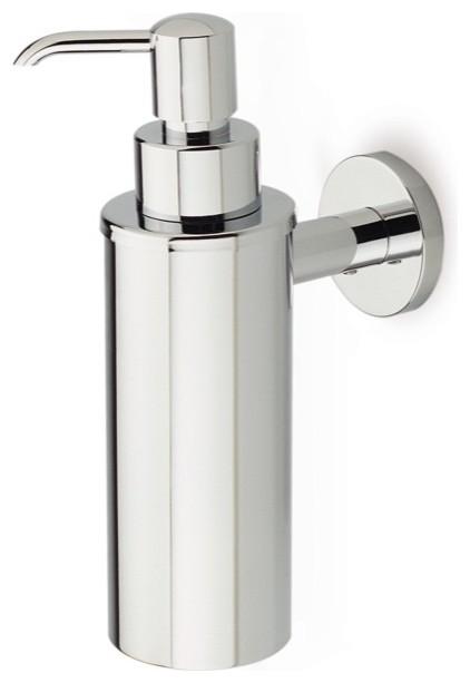 Sleek Modern Wall Mounted Round Chrome Soap Dispenser Contemporary Bathroom Accessories