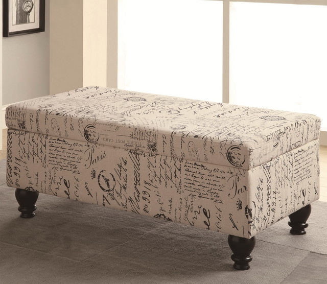 French Script Storage Bench modern-benches