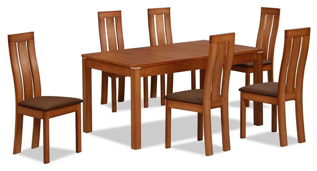 Contemporary extendable designer table and chairs set for Dining table set designs