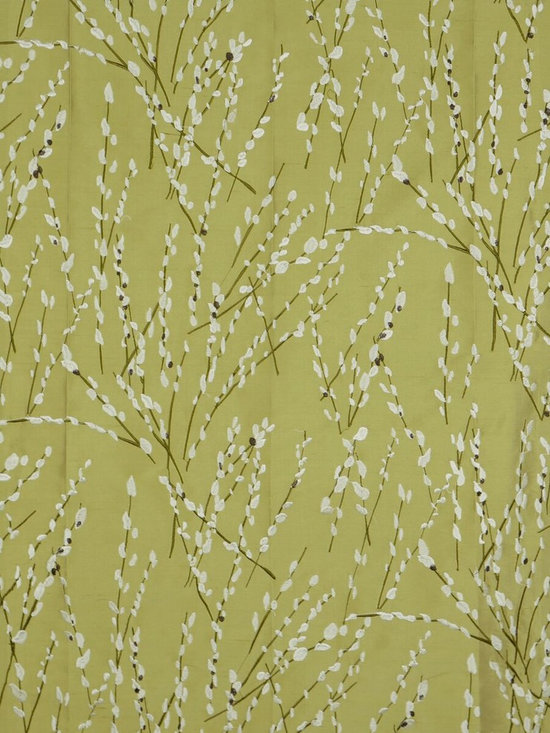Green Trendy Embroidered Plants Dupioni Silk Custom Made Curtains - Boasting a shimmering design with buds. These Halo window panels recreate this garden-inspired patterns.