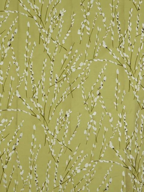 Green Trendy Embroidered Plants Dupioni Silk Custom Made Curtains modern-window-treatments