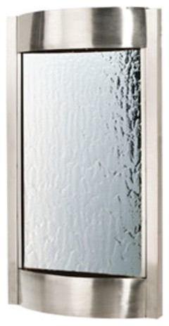 """Contempo Luna Wall Fountain 36""""H x 19""""W Brushed Stainless with Silver Mirror modern-indoor-fountains"""