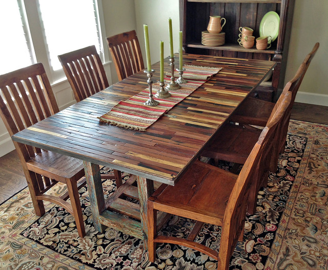 Salvaged reclaimed boat wood dining table custom for Custom dining room tables