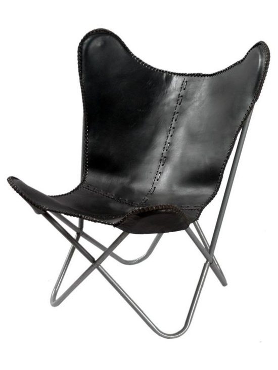 Alliyah Rugs - Leather Butterfly Chair Black - The classic Leather Butterfly Chair, our signature piece, is made one at at time, hand cut, and sewn with a coarse, heavy-duty thread. This distinctive chair is available in one size, tailored to fit our frame.
