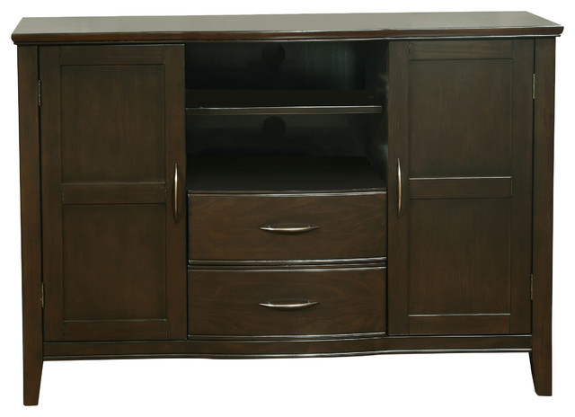 Williamsburg 52 inches wide x 36 inches high TV Stand in Dark Walnut Brown - Transitional ...
