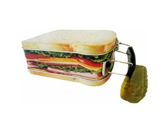 """Sandwich Design Snack Box, Mini Lunchbox Cookie Tin, 4 1/2"""" X 5 1/4"""" - Incredibly realistic looking sandwich with lunchmeat, tomatoes, cheese and lettuce on white bread - but it is actually a mini lunchbox. What a fun way for a little guy or gal to take a snack to school. This small lunchbox is big enough to hold a sandwich or a few small snacks. Convenient carry handle."""