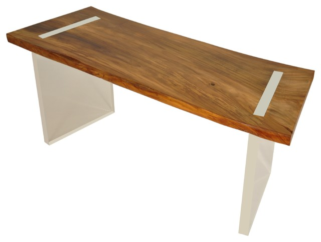 Reclaimed wood floating desk solid teak contemporary desks and hutches miami by rotsen - Reclaimed wood office desk ...