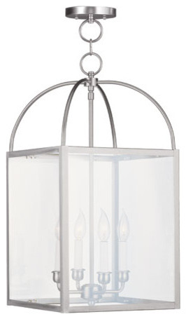 Milford Brushed Nickel Four-Light 13-Inch Pendant with Clear Glass modern-pendant-lighting